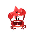 happy crab character holding starfish cute sea vector image vector image
