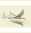 hawk flying in natural landscape hand drawing vector image vector image