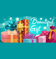 holiday wedding birthday gifts boxes and stars vector image