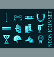 horse riding set icons blue glowing neon style vector image