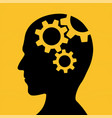icon human head with gears inside vector image vector image