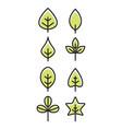 leaf design line icon green line leaf vector image vector image