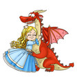 little princess hugs dragon isolated on white vector image
