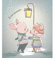 lovely couple winter pigs vector image