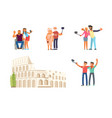 make a photo on colosseum rome vector image