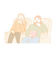 man and woman at cinema hall with popcorn pack vector image vector image