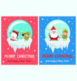 merry christmas happy new year poster elf santa vector image vector image