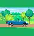 modern car parking along town street in cartoon vector image vector image