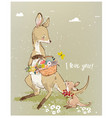 mom kangaroo with little baand flowers vector image vector image