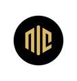 nic letter logo design on black circle shape vector image vector image
