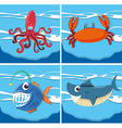 Ocean scene with sea animals underwater vector image