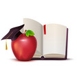 open book red apple and motarboard symbol of vector image vector image