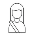 passenger thin line icon human and taxi girl vector image vector image