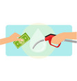 paying gasoline fuel using cash money vector image vector image
