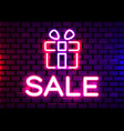 realistic isolated neon sign gift logo vector image vector image