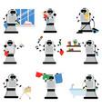 robotic assistants helping people in housework vector image