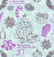 Seamless Christmas pattern in sketch style vector image vector image