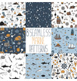 set nautical patterns vector image vector image
