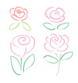 set watercolor flower elements on white background vector image vector image