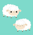 sheep lamb icon set sleeping eyes cloud shape vector image
