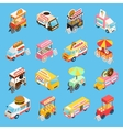 Street Food Carts Isometric Icons Set vector image
