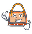 thumbs up hand bag character cartoon vector image vector image