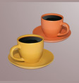 two cups of coffee on a light background vector image