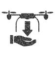 Unload Drone Hand Grainy Texture Icon vector image vector image