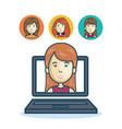 woman community online smartphone design vector image