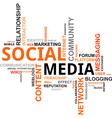 word cloud social media vector image vector image