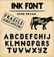 Hand Made Ink stamp font Handwritten alphabet vector image