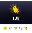 Sun icon in different style vector image