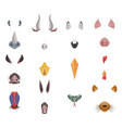 Animal face elements set animal ears and nose