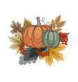 autumn composition with pumpkins vector image