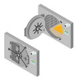 bank saving door set isometric view vector image