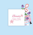 beauty salon banner with cosmetics makeup and vector image