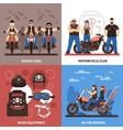 bikers concept icons set vector image