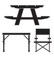 camping and picnic table icons vector image vector image