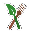 cartoon fork leaf healthy food symbol vector image vector image