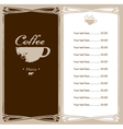coffee menu vector image vector image