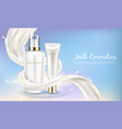 Cosmetic banner with white bottle in milk