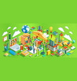 education isometric concept on green background vector image vector image