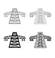 electric pole post high voltage set line icon vector image