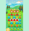 farm fruits gameplay screen - mobile game assets vector image