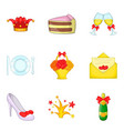 females party icons set cartoon style vector image vector image