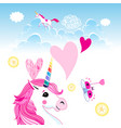 festive bright card with a unicorn in love vector image