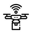 flying drone icon outline vector image vector image