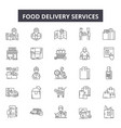 food delivery services line icons signs vector image