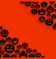 halloween background with pumpkin faces pattern vector image