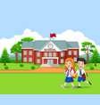 happy little kids going to school vector image